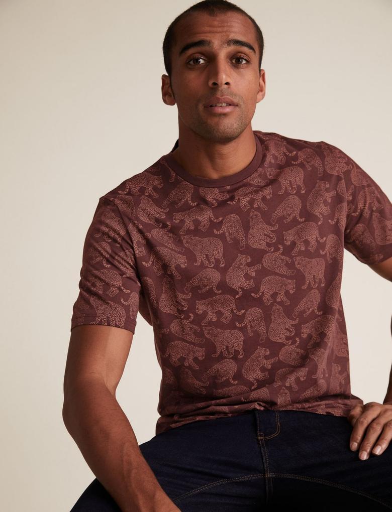 Bordo Saf Pamuklu Desenli T-Shirt