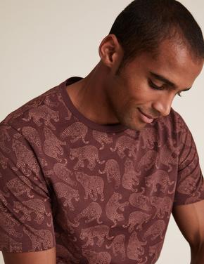 Erkek Bordo Saf Pamuklu Desenli T-Shirt