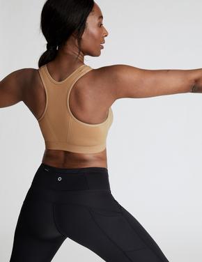 Kadın Kahverengi Dikişsiz Orta Etkili Spor Sütyeni