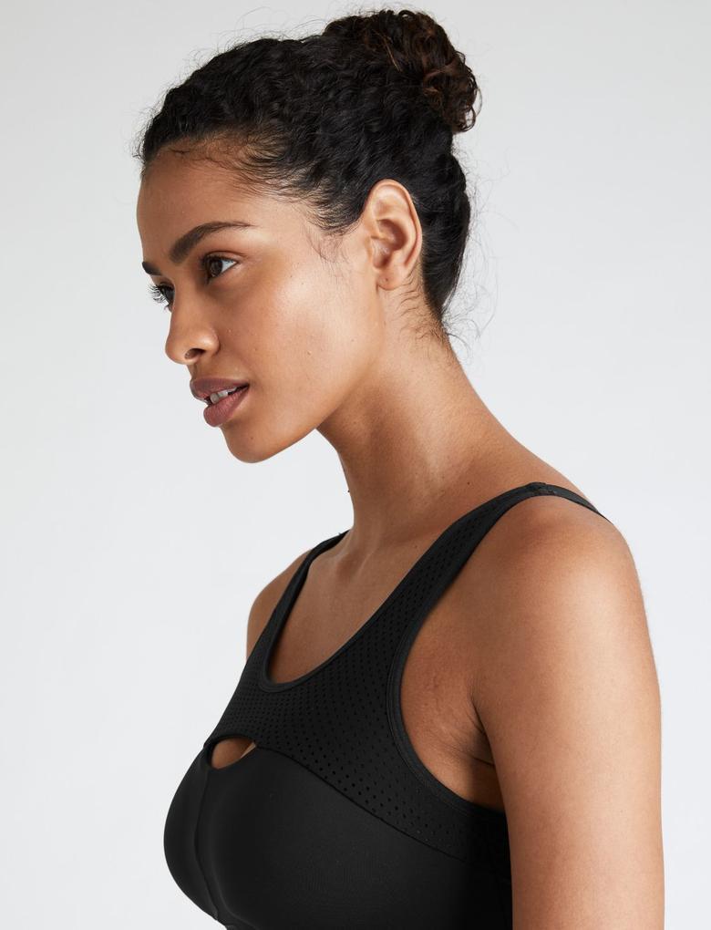 Kadın Siyah Yüksek Etkili Spor Sütyeni F-H