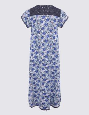 Kadın Mavi Saf Pamuklu Çiçek Desenli Gecelik