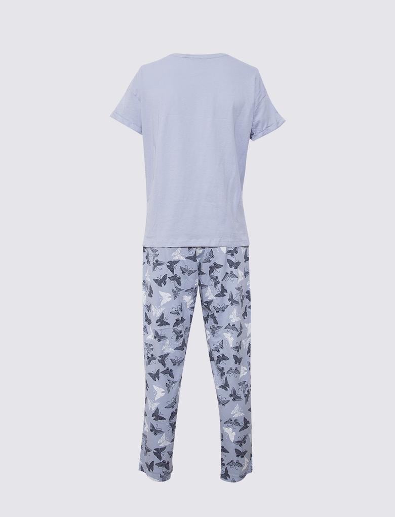 Kadın Mavi Kelebek Desenli Pijama Takımı