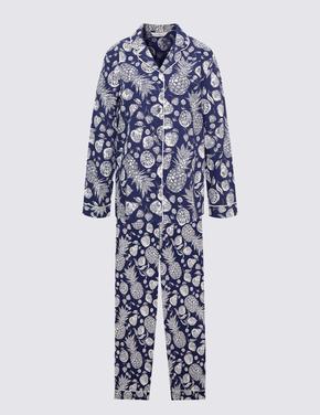 Kadın Lacivert Ananas Desenli Pijama Takımı