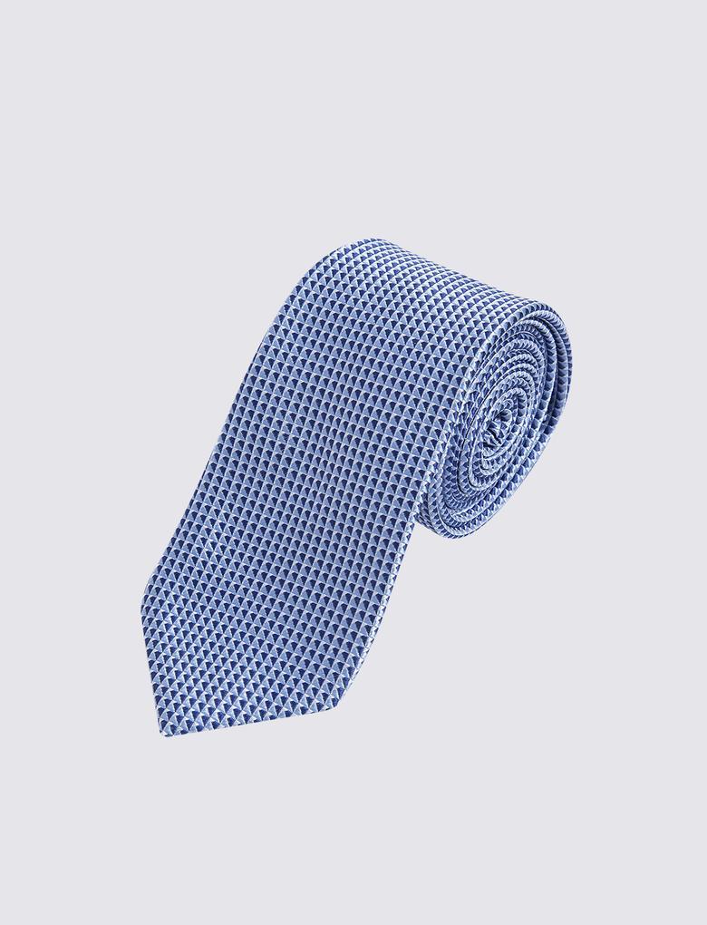 Erkek Mavi Geometrik Desenli Kravat