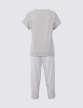 Kadın Gri Çizgili Pijama Takımı