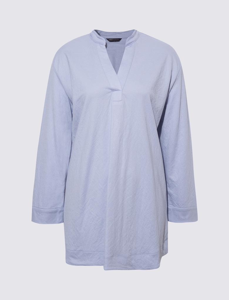Kadın Mavi Popover Gömlek
