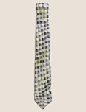 Erkek Sarı Geometrik Desenli Kravat