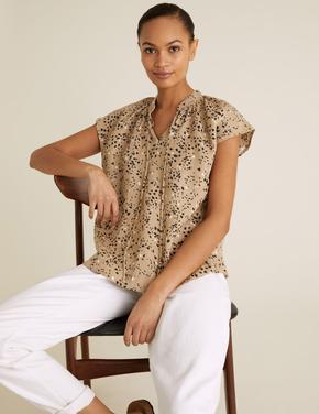 Kadın Kahverengi Saf Keten Desenli Bluz