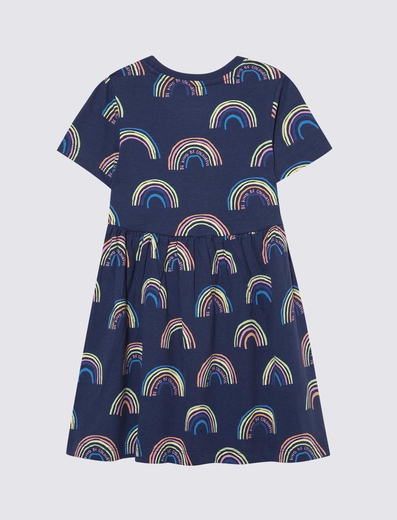 Kız Çocuk Lacivert Saf Pamuklu Gökkuşağı Desenli Elbise