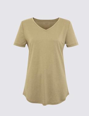 Kadın Yeşil Relaxed V Yaka T-Shirt
