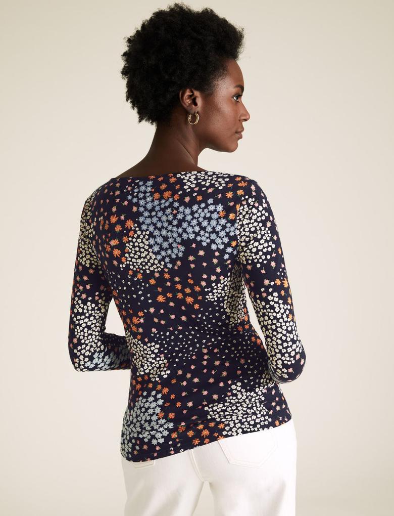 Kadın Mavi Desenli Kayık Yaka Bluz