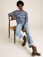 Kadın Mavi Desenli Keten Karışımlı T-Shirt