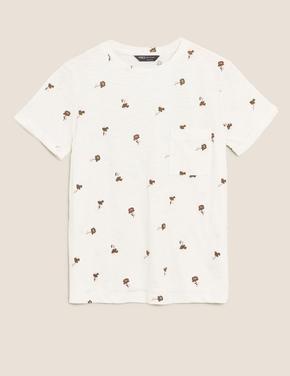 Kadın Krem Saf Pamuklu Kısa Kollu T-Shirt