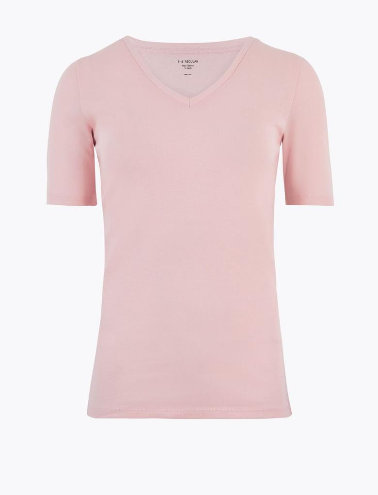 Kadın Pembe Kısa Kollu V Yaka T-Shirt