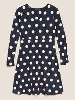 Kadın Lacivert Puantiyeli Uzun Kollu Elbise