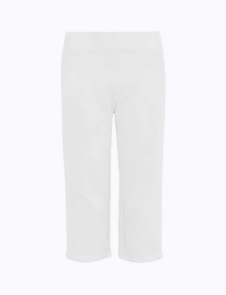 Kadın Beyaz Cropped Jogger Pantolon