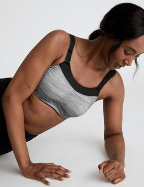 Kadın Gri Yüksek Etkili Sporcu Sütyeni
