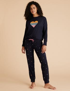 Kadın Lacivert Kalp Desenli Pijama Takımı