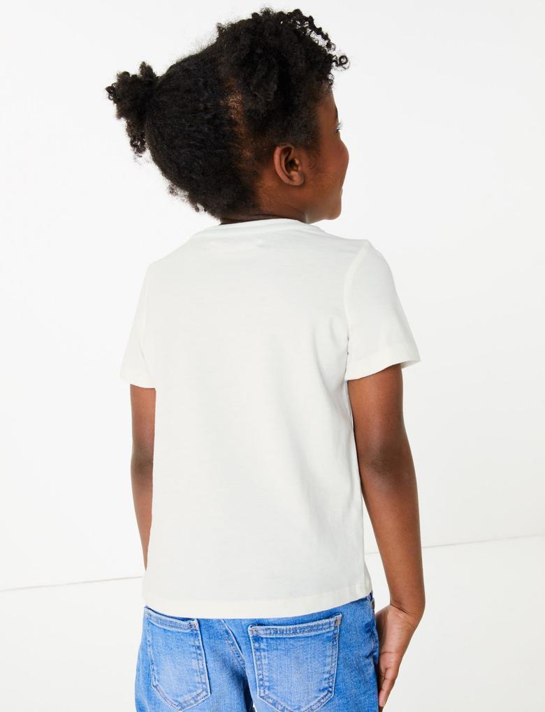 Kız Çocuk Beyaz Kısa Kollu Grafik T-Shirt