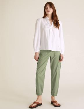 Kadın Yeşil Tapered Ankle Grazer Trousers Kargo Pantolon