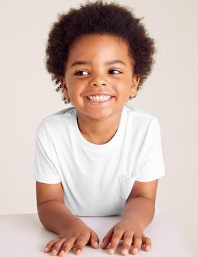 Erkek Çocuk Beyaz Organic Pamuklu T-Shirt