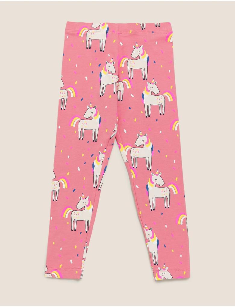 Kız Çocuk Pembe Unicorn Desenli Pamuklu Tayt