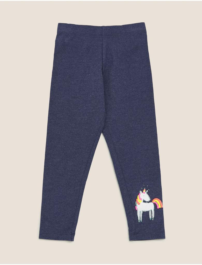 Kız Çocuk Mavi Pamuklu Unicorn Baskılı Tayt