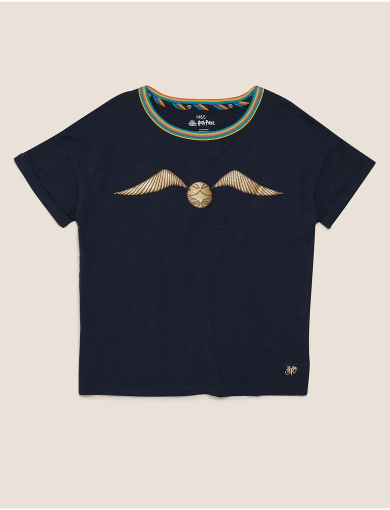 Kız Çocuk Lacivert Harry Potter™ Desenli T-Shirt