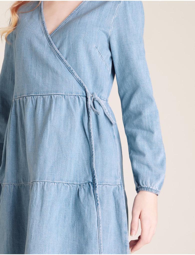 Kız Çocuk Mavi Denim Elbise
