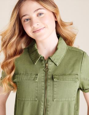 Kız Çocuk Yeşil Kısa Kollu Tulum