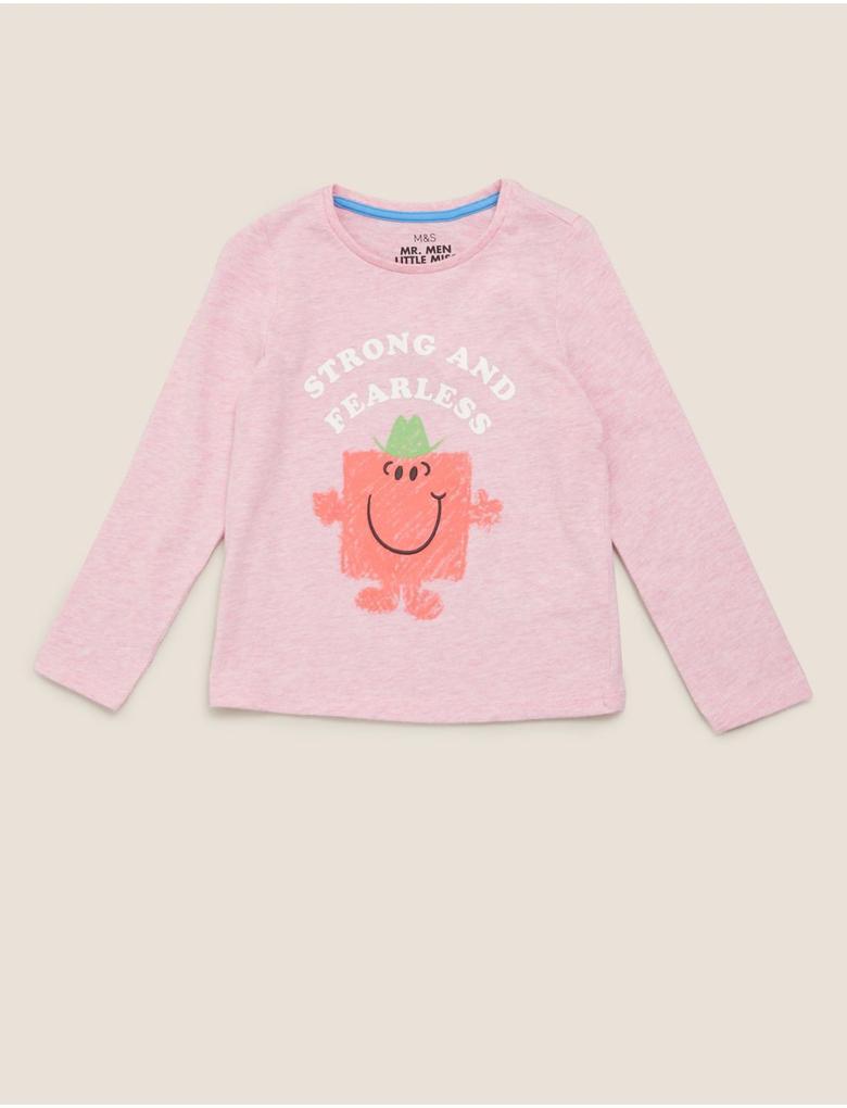 Kız Çocuk Pembe Mr Men™Desenli T-Shirt
