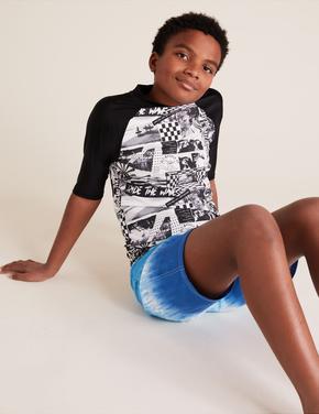 Erkek Çocuk Siyah Fotoğraf Baskılı Mayo Üstü