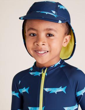 Erkek Çocuk Lacivert 2'li  Şapkalı Mayo Tulum Seti