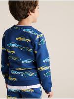 Erkek Çocuk Mavi Organic Pamuklu Araba Desenli Sweatshirt