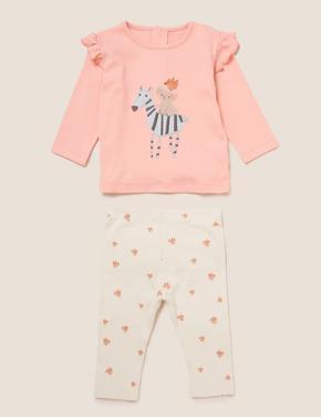 Bebek Pembe Zürafa Baskılı Pijama Seti