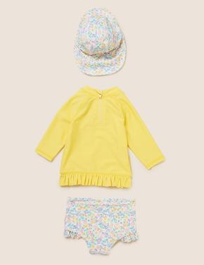 Bebek Sarı 3'lücÖrdek Desenli Mayo Seti