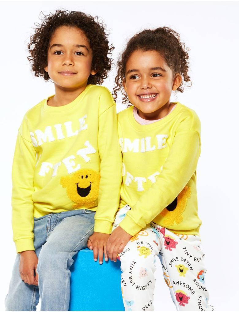 Erkek Çocuk Sarı Mr Happy™ Baskılı Sweatshirt