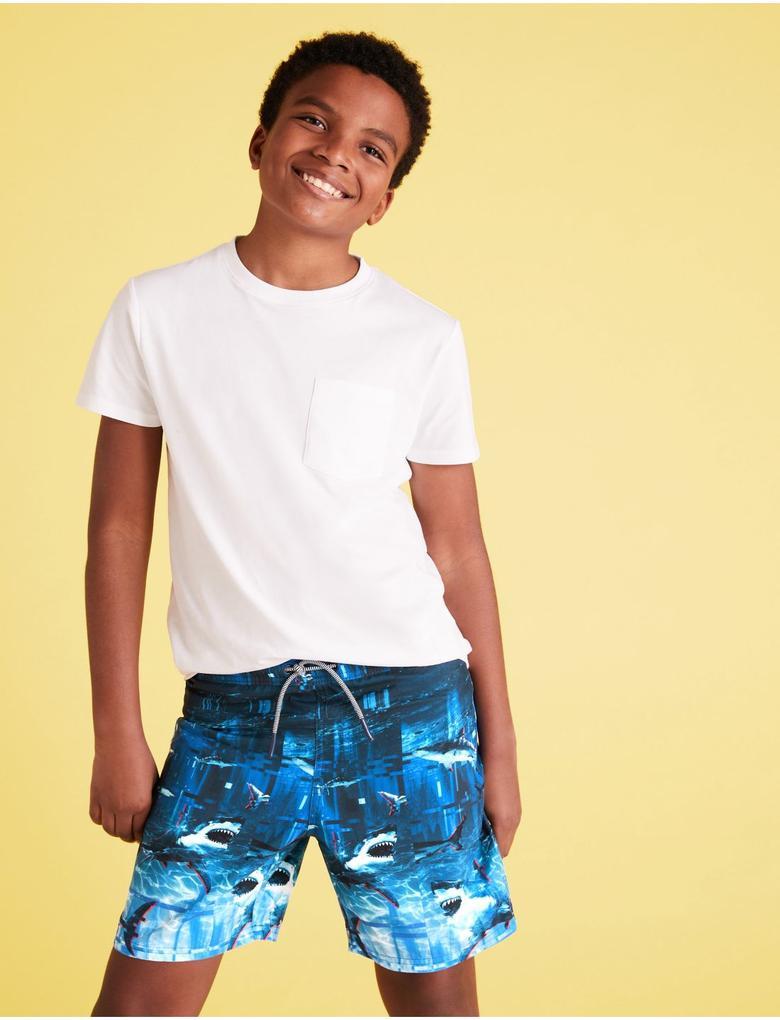Erkek Çocuk Mavi Denizaltı Desenli Mayo şort