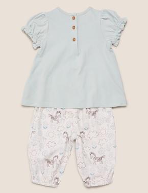 Bebek Mavi 2'li Zebra Baskılı T-Shirt ve Pantolon Takımı