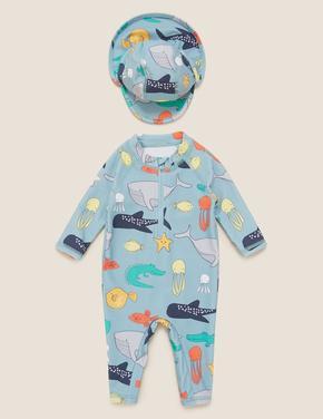 Bebek Mavi 2'li Denizaltı Desenli Mayo Seti