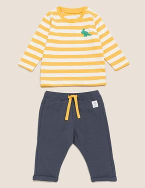 Bebek Sarı 2'li  Dinazor Baskılı T-Shirt Pantolon Takımı