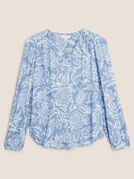 Mavi Çiçek Desenli V Yaka Bluz