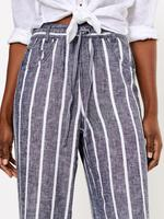 Kadın Lacivert Çizgili Keten Pantolon