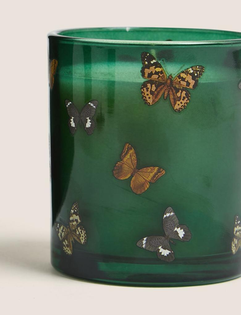 Ev Yeşil Bergamontlu Kelebek Desenli Mumluk