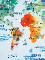 Ev Mavi Dünya Haritası Desenli Havlu