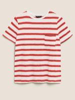 Kadın Krem Pamuklu Kısa Kollu Çizgli T-Shirt