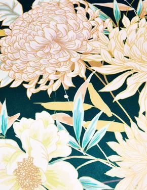 Ev Mavi Kadife Dekoratif Çiçekli Yastık