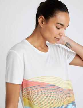 Kadın Beyaz Slogan Scoop Kısa Kollu T-Shirt