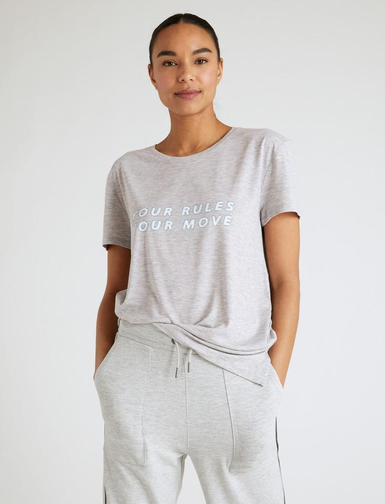 Kadın Gri Kısa Kollu Good Move Baskı T-Shirt
