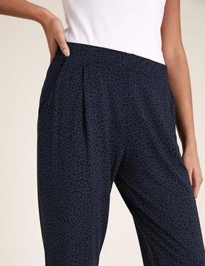 Kadın Lacivert Leopar Desenli Tapered Pantolon